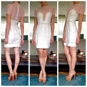 Bec & Bridge White Leather + Mesh Warrior Dress